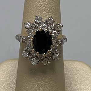 Jewelry - 14K TTG Sapphire and Diamond Ring Size 5 1/4